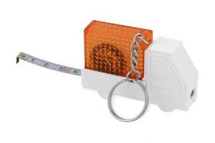 """Брелок-рулетка """"Автомобиль"""", 1 м., с фонариком, белый/оранжевый"""