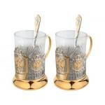 Набор «Герб России»: 2 стакана с подстаканниками