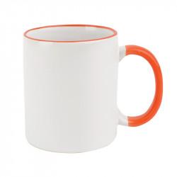 Кружка для сублимации, оранжевый ободок и ручка