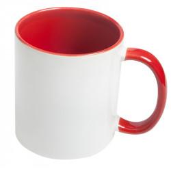 Кружка для сублимации керамика белая, внутри и ручка красная стандарт 330мл