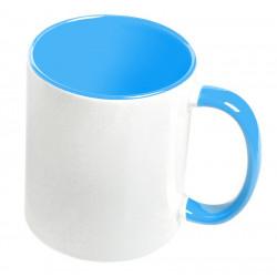 Кружка для сублимации керамика белая, внутри и ручка голубая стандарт 330мл