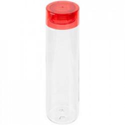 Бутылка для воды Aroundy, прозрачная с красной крышкой