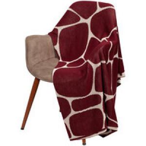 Плед Giraffe, бежевый с бордовым