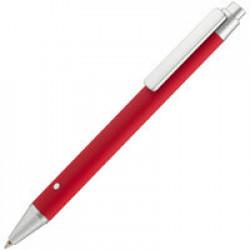 Ручка шариковая Button Up, красная с серебристым