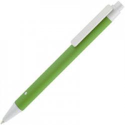 Ручка шариковая Button Up, зеленая с белым