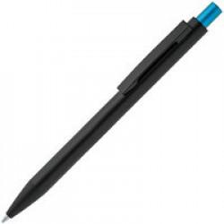 Ручка шариковая Chromatic, черная с голубым
