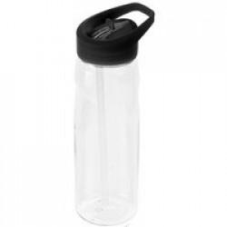 Спортивная бутылка Start, прозрачная с черной крышкой