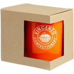 Коробка для кружки с окошком, крафт