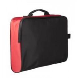 Сумка для документов Unit College, черная с красным