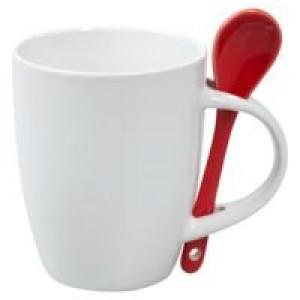 Кружка с ложкой Cheer Up, белая с красной