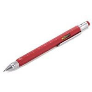 Ручка шариковая Construction, мультиинструмент, красная