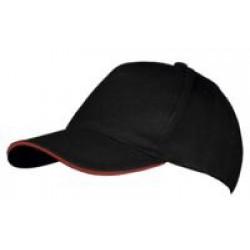Бейсболка LONG BEACH, черная с красным