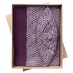 Набор Urban: шарф и шапка, баклажаново-белый