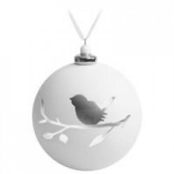 Елочный шар с фигуркой «Снегирь на ветке», 10 см, белый с серебристым