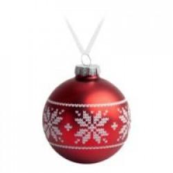 Елочный шар «Скандинавский узор», 8 см, красный