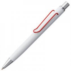 Ручка шариковая Clamp, белая с красным