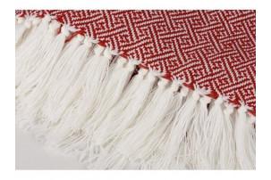 Плед акриловый Tassel с белой бахромой, красный