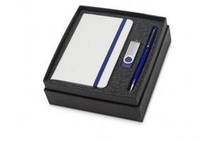 Подарочный набор Reporter Plus с флешкой, ручкой и блокнотом А6, синий