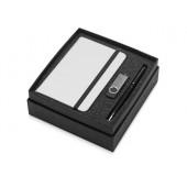 Подарочный набор Reporter Plus с флешкой, ручкой и блокнотом А6, черный