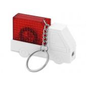 """Брелок-рулетка """"Автомобиль"""" с фонариком, 1 м., белый/красный"""