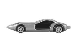 Ручка шариковая «Сан-Марино» в форме автомобиля с открывающимися дверями и инерционным механизмом движения, серебристая