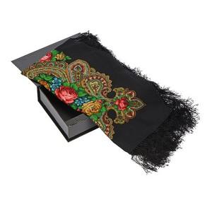 Павловопосадский платок, черный