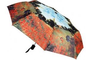 Набор: платок, складной зонт «Моне. Поле маков», красный/зеленый