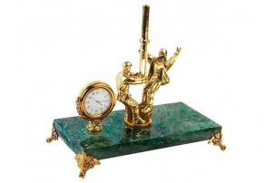 Настольный прибор «Скважина», зеленый/золотистый