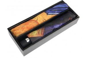 Набор: платок, складной зонт «Ван Гог. Терраса кафе ночью», темно-синий/оранжевый