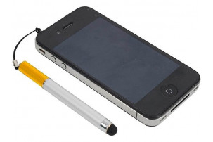 Ручка-подвеска на мобильный телефон со стилусом, серебристый/золотистый